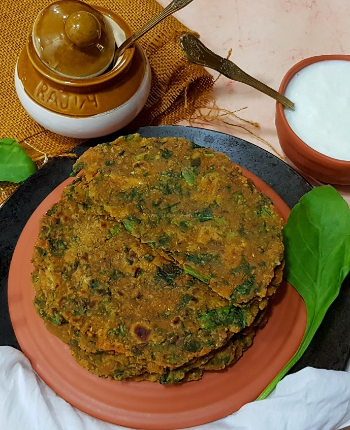 Oats spinach paratha