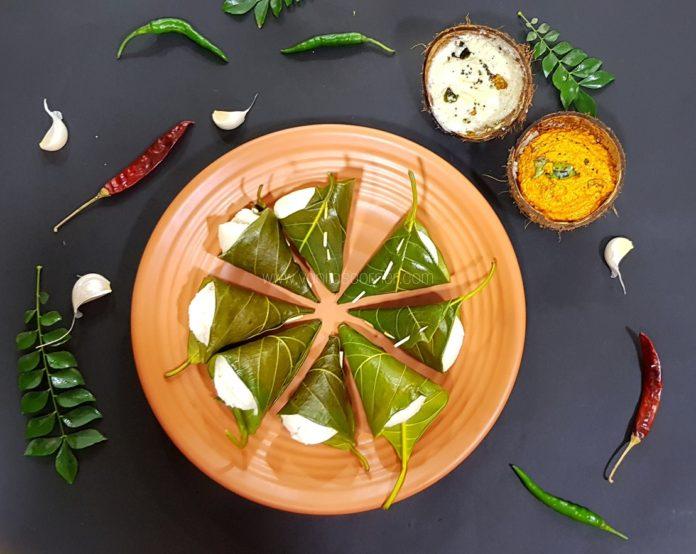 Idlis steamed in jackfruit leaves