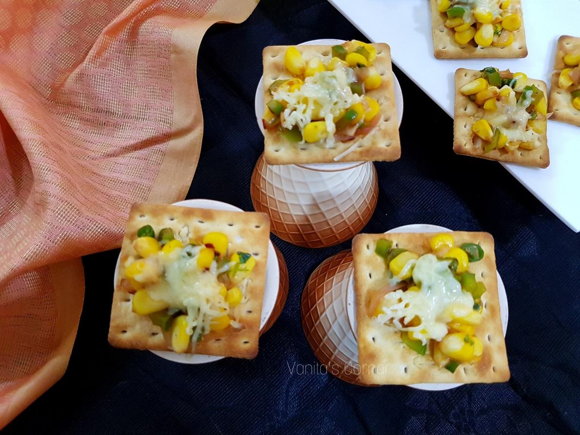 Corn on crackers