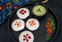 Idlis decorated with vegetables